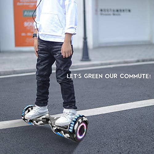 RCB Gyropode Hoverboard pour Enfant et Adulte, Overboard Electrique 6.5 Pouces avec Bluetooth-Musique/LED-Roue Clignotante, E-Skateboards Cadeau pour Noël
