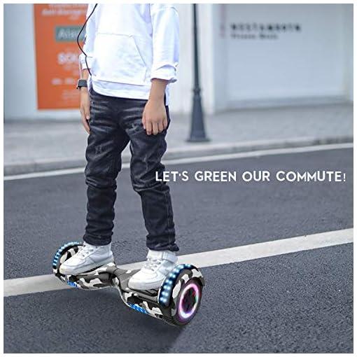 RCB Hoverboard Gyropode pour Enfant et Adulte, Overboard Electrique 6.5 Pouces avec Bluetooth-Musique/LED-Roue Clignotante, E-Skateboards Cadeau pour Noël