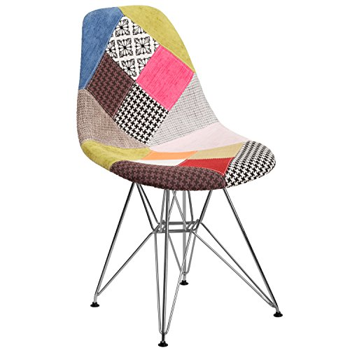 Flash Furniture Elon Series Milan Patchwork Fabric Chair with Chrome Base For Sale