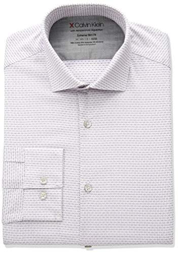 Calvin Klein Men's Dress Shirts Xtreme Slim Fit Print Thermal Stretch, Plum, 16