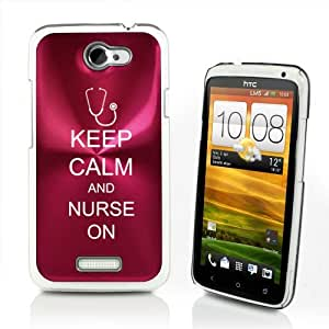 Rose Red HTC One X AT&T Aluminum Plated Hard Back Case Cover P399 Keep Calm and Nurse On