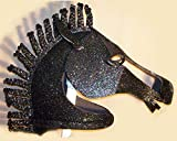 Horse mask with black holographic glitter. Adult size for women or men. Handmade. Costume masquerade mask animal head.