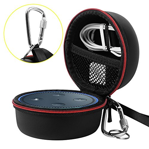 AIRSSON Echo Dot Case Portable Carrying Travel Protective Case Pouch Box Cover Bag for Echo Dot 2nd Generation with Carabiner