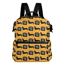 Dachshund Dog Pattern Yellow Lightweight WaterproofPolyester Large CapacityBackpack Campus Backpack TravelDaypack