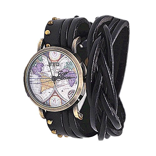 MINILUJIA 2 Around Wrap Leather Women Watches Vintage Bronze Rivet Strap Black Traval Word Map Watch - Style World Map