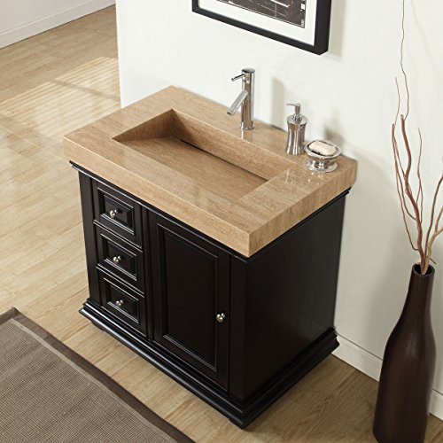 Silkroad Exclusive Bathroom Vanity Travertine Top Single Ramp Sink Right Cabinet, 36'' by Silkroad Exclusive