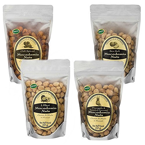 Best Flavored Macadamia Nuts Fresh from Hawaii Superfood Power Snack Pack - Premium Macadamia Nuts Grown and Made in Hawaii (8 oz Bag - 4 Count)