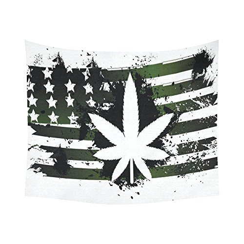 Interestprint American Flag Leaf Marijuana Legalization Tapestry Horizontal Wall Hanging Green Stars Stripes Wall Decor Art for Living Room Bedroom Dorm Cotton Linen Decoration 51 X 60 Inches