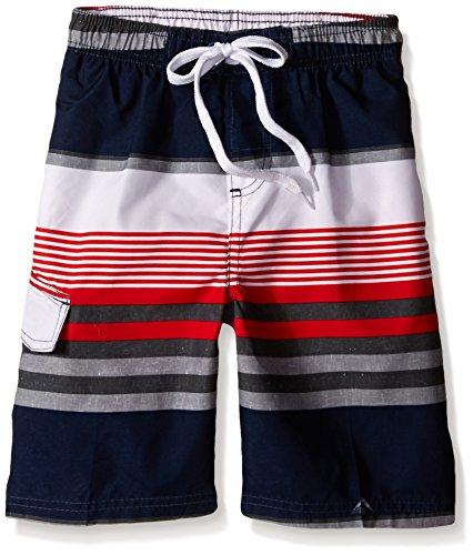 Kanu Surf Little Boys' Optic Stripe Swim Trunk, Navy/Red, Large (7)