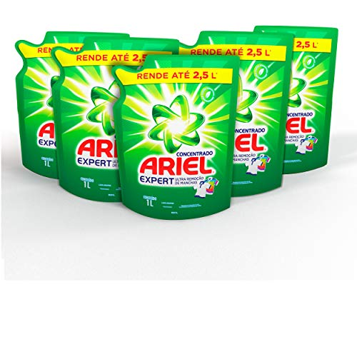 Kit Sabão Líquido Concentrado Ariel Expert, 5 unidades com 1 L cada, total 5 L