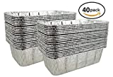 Pactogo 2 lb. Disposable Aluminum Foil Loaf Bread Baking Pan 8.6'' x 4.5'' x 2.6'' - Heavy Duty Made in USA (Pack of 40)