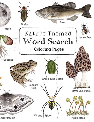 Nature Themed Word Search: Nature Inspired Word Search Book with 64 Puzzles and Bonus Coloring Pages for Kids ages 7 and - Book 64