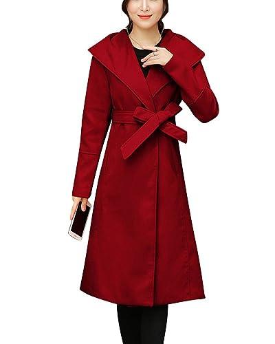 Mujer Largo Ropa Abrigo Manga Larga Exterior Chaqueta Rojo L