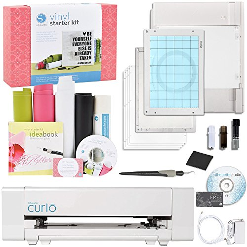 Silhouette America Curio Crafting Machine with Silhouette Starter Vinyl Kit Bundle by Silhouette America