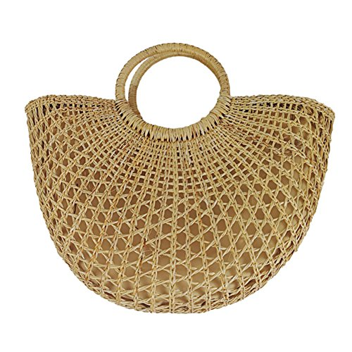 Hand-woven Large Summer Beach Handbag Grass Hollow Out Travel Shopping Bag with Round Handle