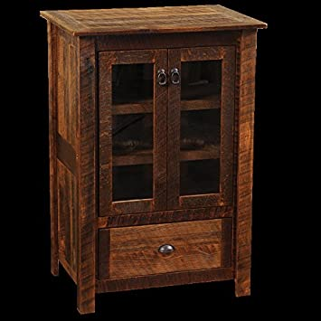 Barnwood Media Cabinet Real High Quality Wood Western Lodge Rustic Cabin