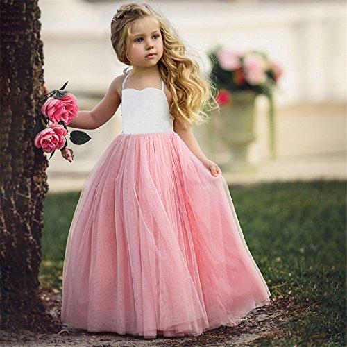 FULLIN Girl Dress Girl Pink Sleeveless Wedding Party Gown Girl Dress Girls Play Clothes,120cm