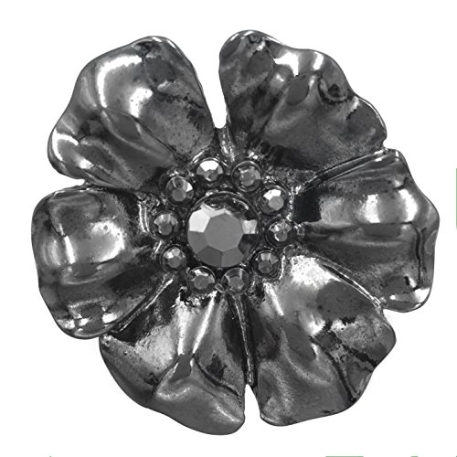 Gypsy Jewels Large Flower Daisy Rhinestone Statement Big Stretch Cocktail Ring (Gun Metal Hematite - Daisy Stretch Ring