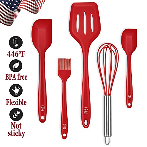 - NILE Silicone Cooking Utensils Set, FDA 446°F Heat-Resistant Non-Stick Robust Flexible Silicone Kitchen, Dishwasher Safe Egg Beater Spatulas Brush Turner Utensils for Mixing Cooking Baking