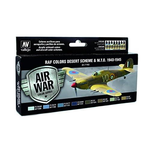 Vallejo modèle Air WWII RAF désert Kit de peinture acrylique pour air brush–Couleurs assorties (Lot de 8)
