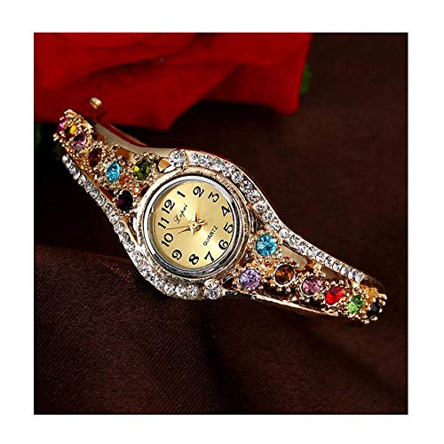 (JAWM Luxury Vintage Crystal Bangle Watch Jewelry Crystal Diamond Rhinestone Elegant Ladies Watches)