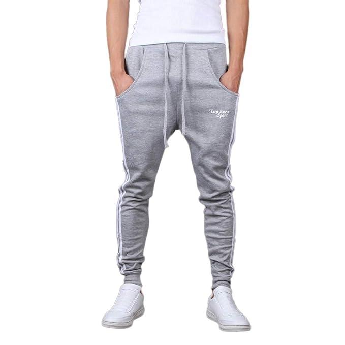 Pantalón para Hombre Casual Jogging Algodón Pantalones de chándal Sueltos  Ocasionales Hombre Pantalones Largos Deportivos Moda Costura Rayas Deportivo  ... a4193ec99ea8