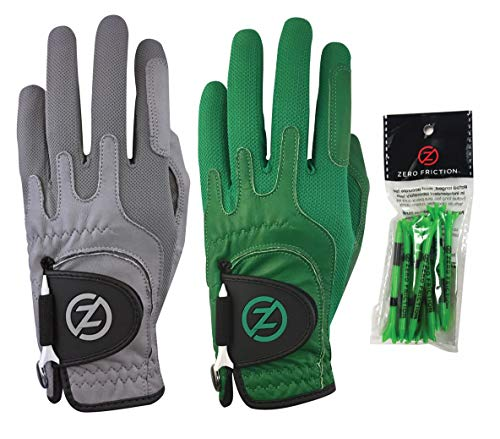 Zero Friction GL72003 Mens Cabretta Elite Golf Glove 2 Pack, Free tee Pack, Worn on Left Hand (for Gloves only), Grey & Green, Universal Fit