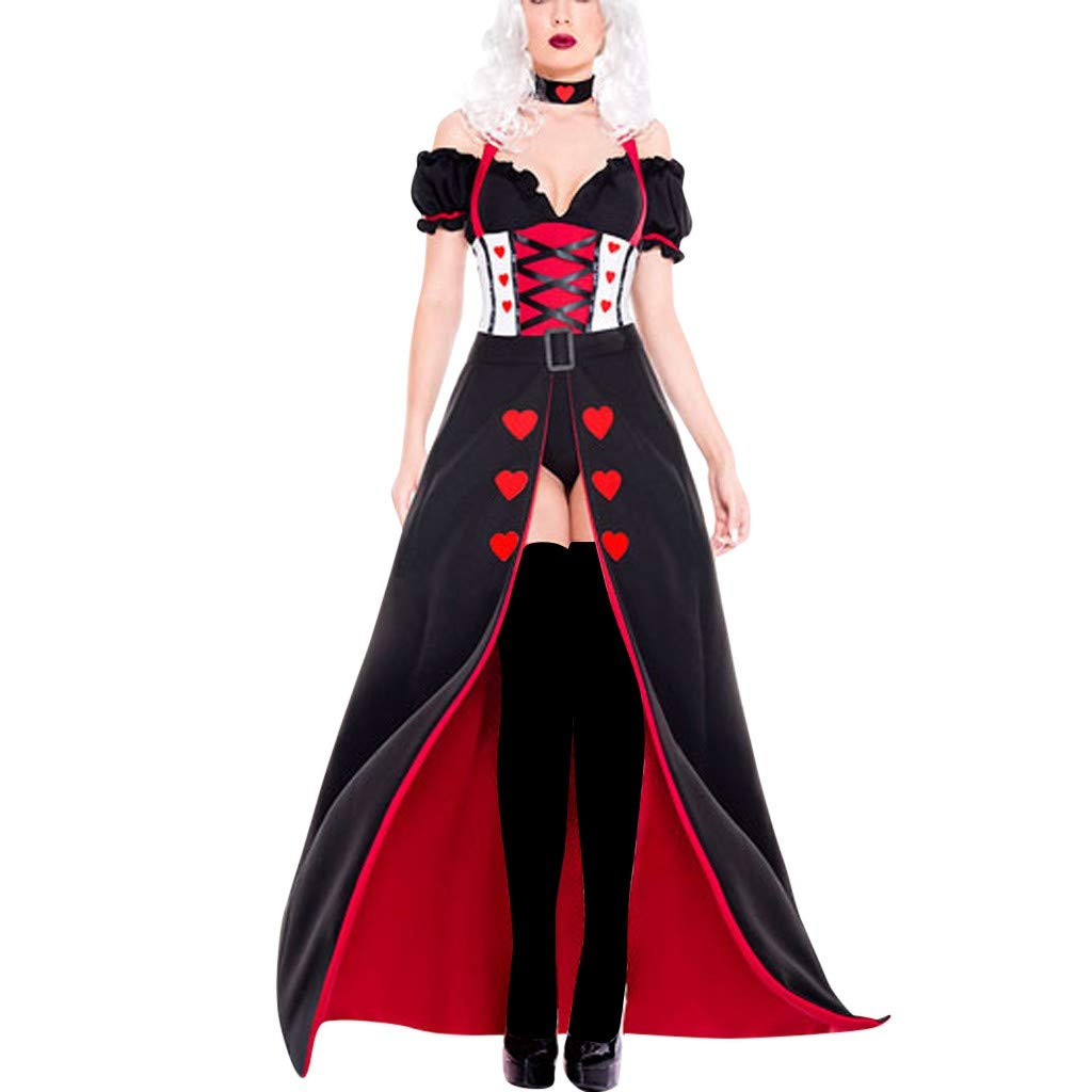 Women Queen of Hearts Halloween Costume V-Neck Off Shoulder Ruffles Party Prom Clothes with Hairband (M, Black)