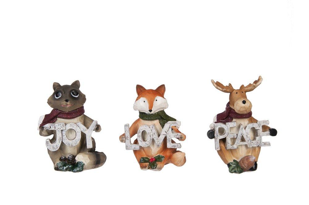 Set of 3 Moose Racoon and Fox, Joy Love Peace Woodland Christmas Figurines