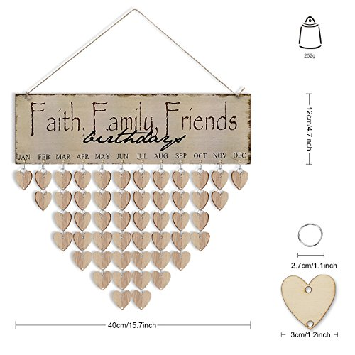 Joy-Leo (New Launch) Wood DIY Family & Friends Birthday Reminder Calendar, Different Way for Birthday & Events Reminder, Rustic Decorative Wooden Wall Calendar (Faith Series, Heart (A-glance Personalized Wall Calendar)