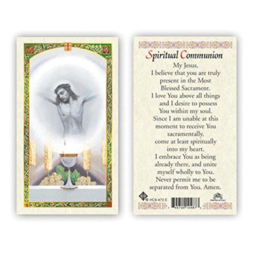 Jesus Laminated - PRAYER TO JESUS ABOVE ALTAR WITH HOST - SPIRITUAL COMMUNION LAMINATED PRAYER CARDS - 25/PKG