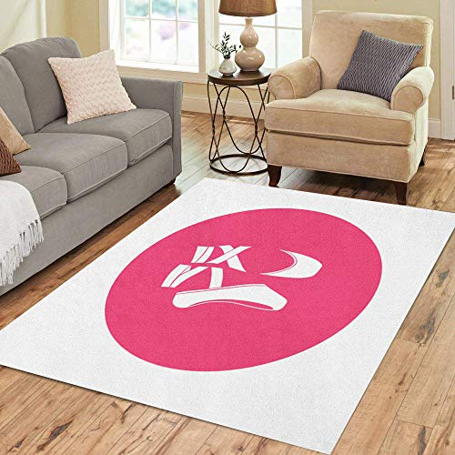 Semtomn Area Rug 2' X 3' Pink Ballerina Ballet Shoes Dance Dancer Silhouette Girl Classical Home Decor Collection Floor Rugs Carpet for Living Room Bedroom Dining Room