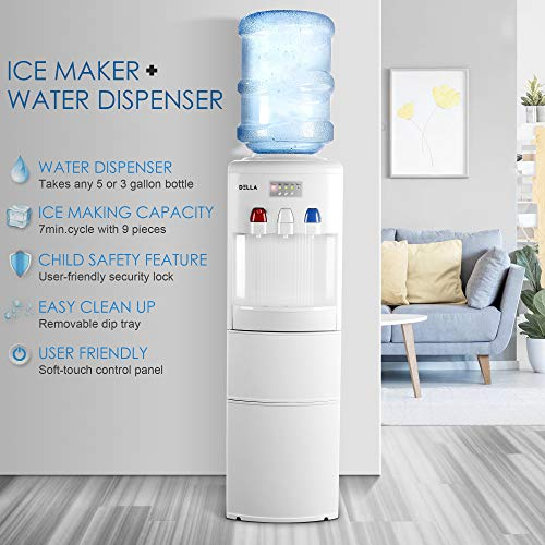 DELLA 2 in 1 Water Dispenser w/Built-in Ice Maker Machine Freestanding Hot and Cold Top Loading 3-5 Gallon Bottle, White