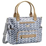 JJ Cole - Caprice Diaper Bag, Large Capacity Tote with Stroller Clips, Changing Pad, and Multiple Pockets for Baby Supplies, Slate Watercolor Chevron