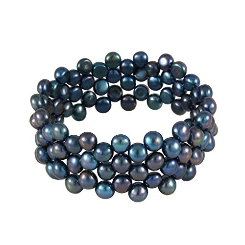 (3-Row Handpicked AAA+ 6mm Peacock Button Freshwater Cultured Pearls Bangle Bracelet 7