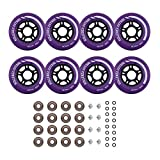 Rollerex Inline Skate/Rollerblade Wheels VXT500 80mm (8-Pack or 2-Pack or 2 Wheels w/Bearings, Spacers and Washers) (80mm Royal Purple (8 Wheels w/Bearings, spacers and washers))