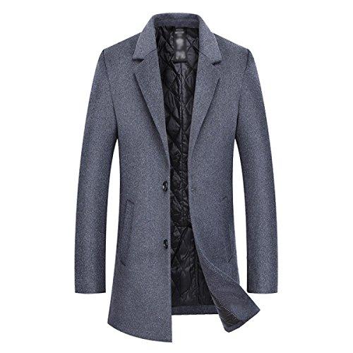 HGDR New Winter Men's Woolen Coat Lapel Single-Breasted Fashion Cashmere Coat Jacket Men's Long Coat Trench Coat Windbreaker Outwear Grey