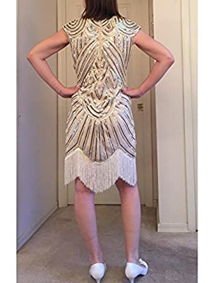 Vijiv Art Deco Great Gatsby Inspired Tassel Beaded 1920s Flapper Dress