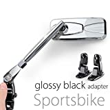 shiny chrome mirrors aluminum cnc w/ glossy black adapter for sport bike Magazi KiWAV