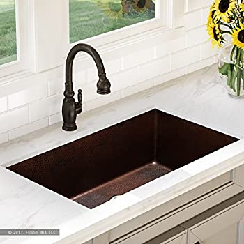 Premier copper products ksdb30199 30 inch hammered copper kitchen luxury 32 inch copper undermount kitchen sink extra thick 14 gauge pure solid copper artisan hammered finish single bowl includes copper disposal flange workwithnaturefo