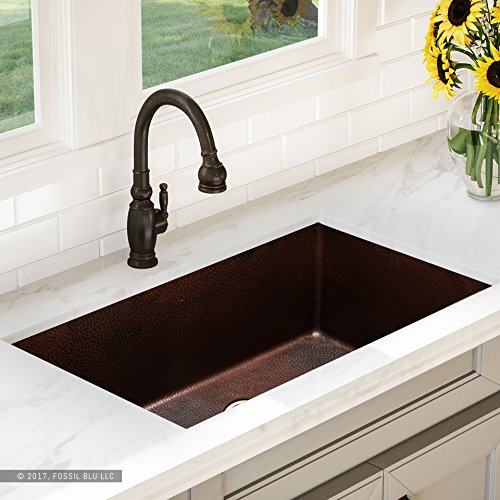 Luxury 32 inch Copper Undermount Kitchen Sink, Extra-thick 14-Gauge Pure Solid Copper, Artisan Hammered Finish, Single Bowl, includes Copper Disposal Flange Solid Durable Disposal Flange