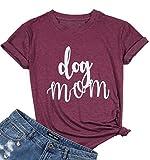 Womens Dog Mom V Neck T-Shirt Funny Moms Gift Novelty Animal Family Tee Tops (Red Wine)