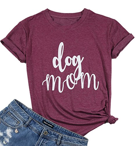 Womens Dog Mom V Neck T-Shirt Funny Moms Gift Novelty Animal Family Tee Tops Size XL (Red Wine)
