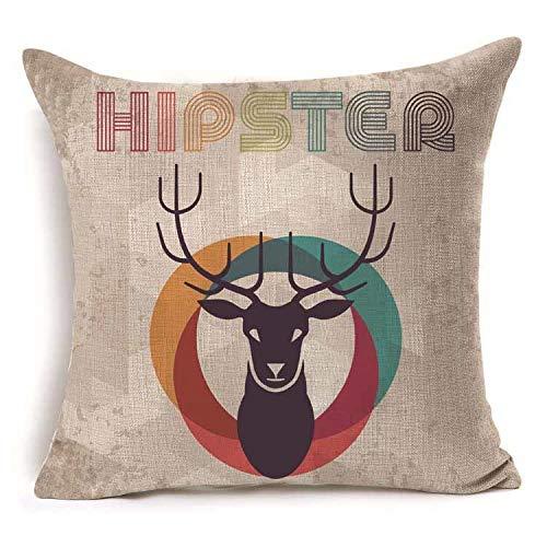 Amazon.com: 1Pcs 4545cm Deer Pattern Cotton Linen Throw ...