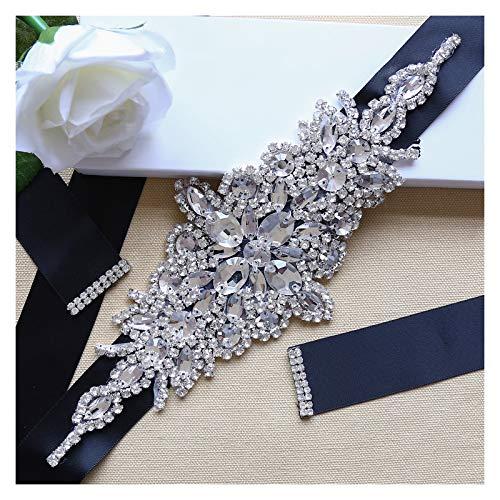 Crystal Applique with Black Ribbon Wedding Dress Belt Clear Rhinestone for Bridal Evening Dress Accessories