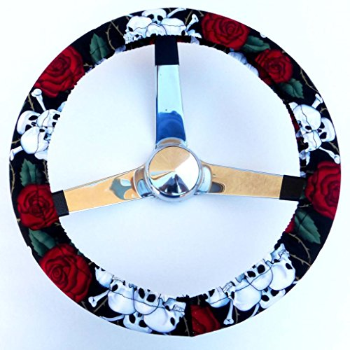 Mana Trading Handmade Steering Wheel Cover Rose Tattoo Skulls