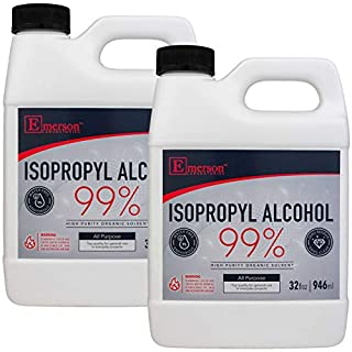 Emerson Labs 99% Isopropyl Alcohol - High Purity IPA for Rubbing Alcohol & Technical Use, High-Potency 'Green' Solvent & Concentrated All Purpose Cleaner - 1/2 Gallon Pack (2-32oz Bottles)