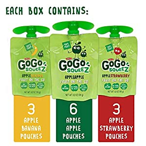 Gogo Squeez Applesauce On The Go Variety Pack Apple Appleapple Bananaapple Strawberry 32 Ounce 12 Pouches Gluten Free Vegan Friendly Healthy Snacks Unsweetened Reusable Bpa Free Pouches by Materne North America