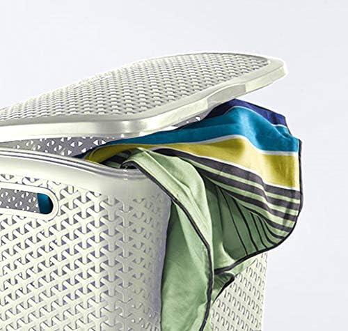 CURVER   Coffre à linge 55L - Aspect rotin - My Style, Ivoire, Laundry Hampers & Baskets, 42,8x33x60,4 cm