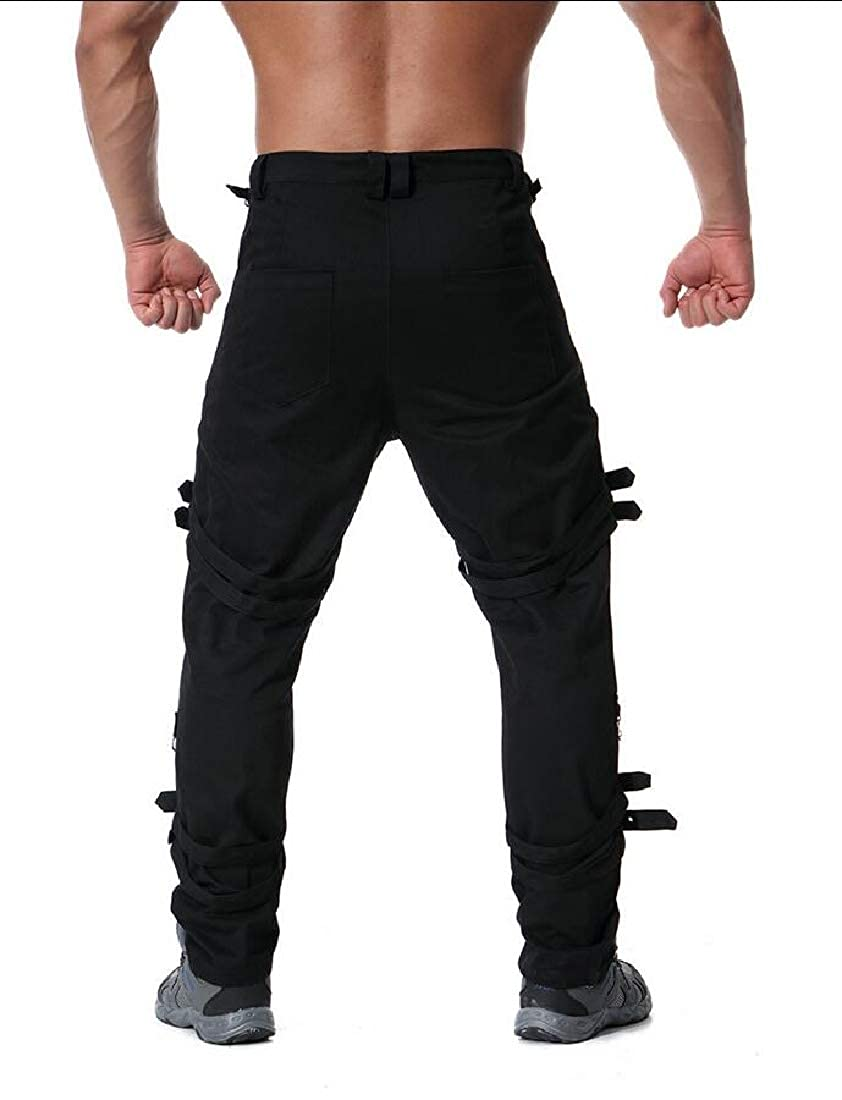Mens Hip-Hop Solid Color Straight Fit Loose Casual Chain Pants